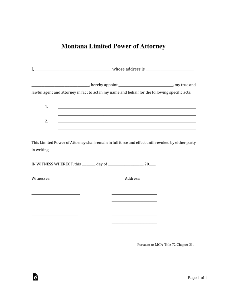 Montana Limited Power Of Attorney Form