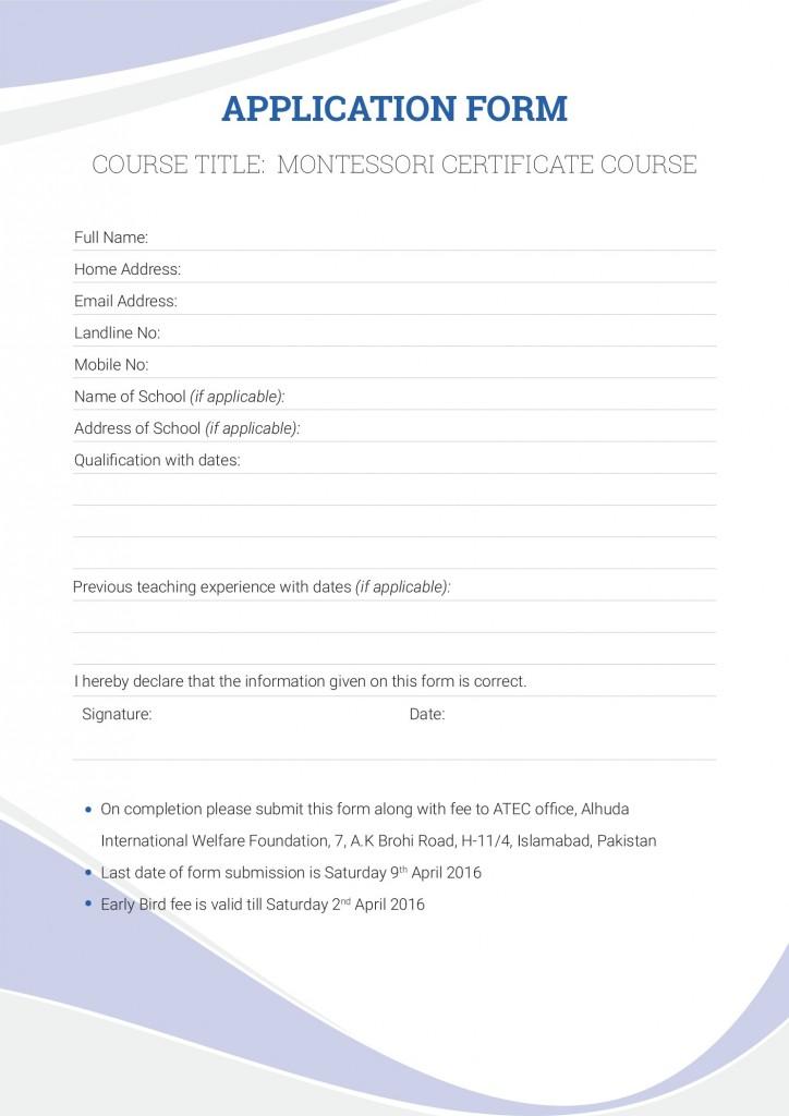 Montessori Teacher Training Application Form