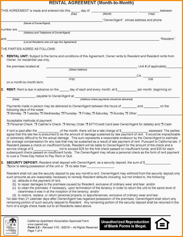 Month To Month Lease Form Ca