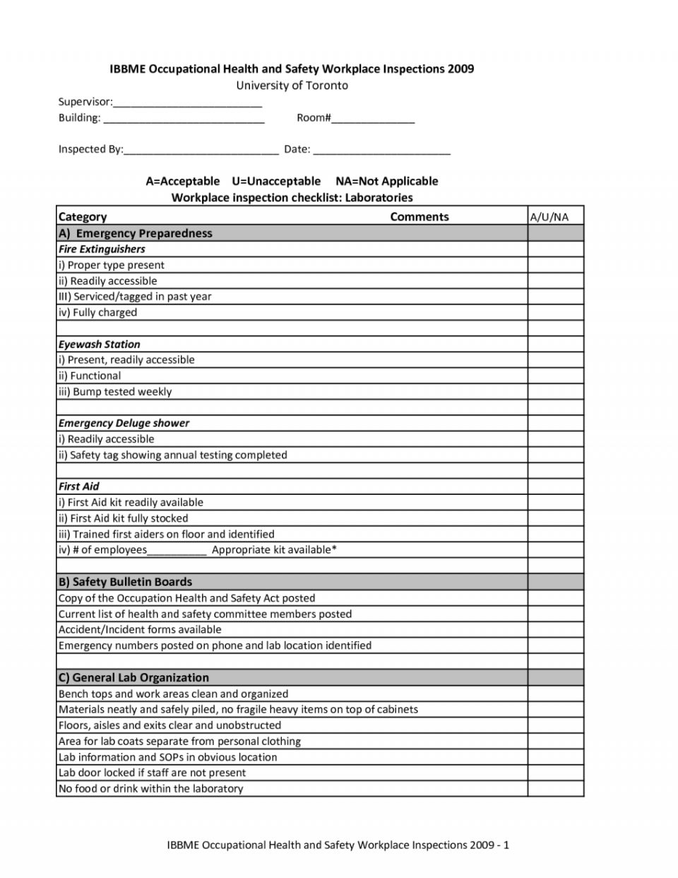 Monthly Eyewash Inspection Form