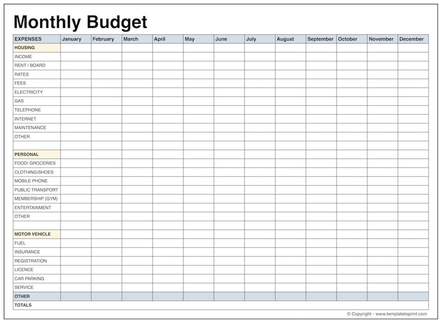 Blank Monthly Budget Template Pdf