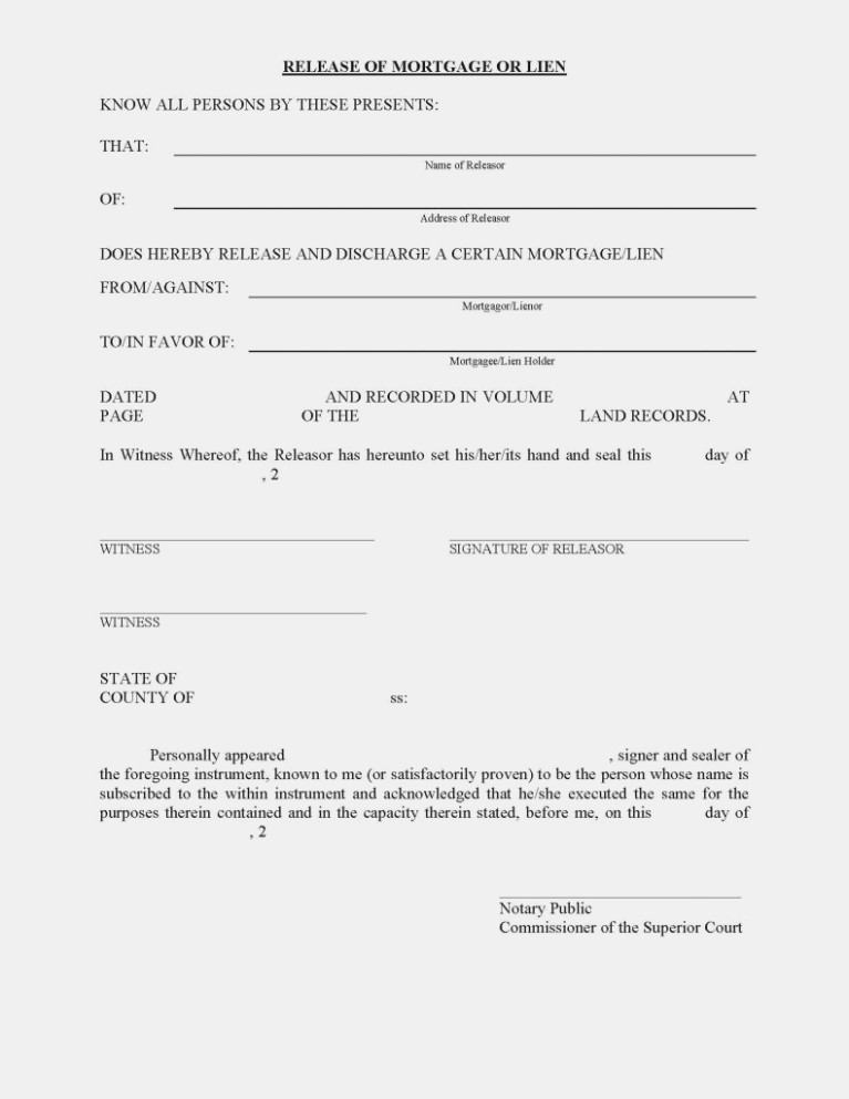 Mortgage Lien Release Form Free