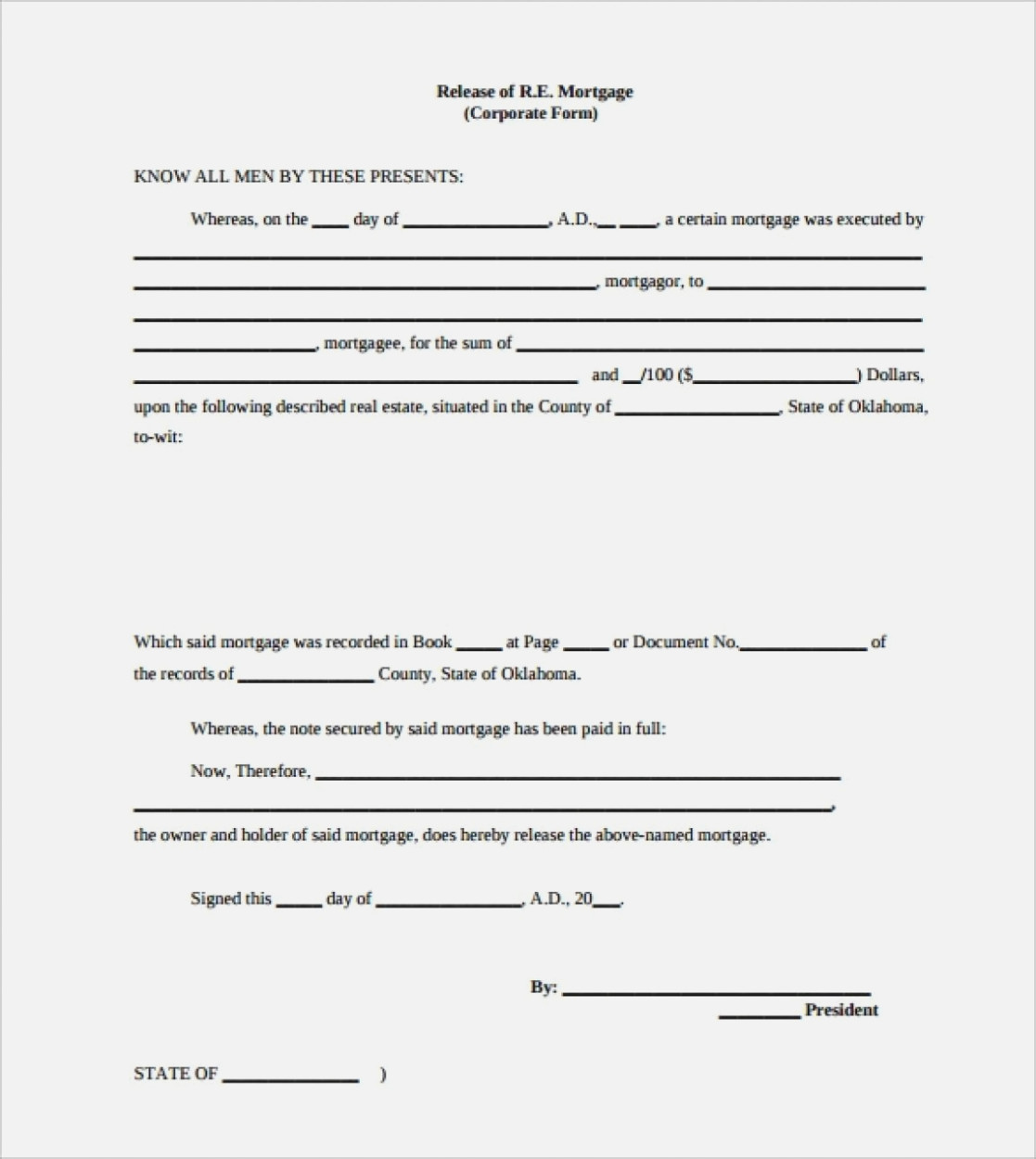 Mortgage Lien Release Form Oklahoma