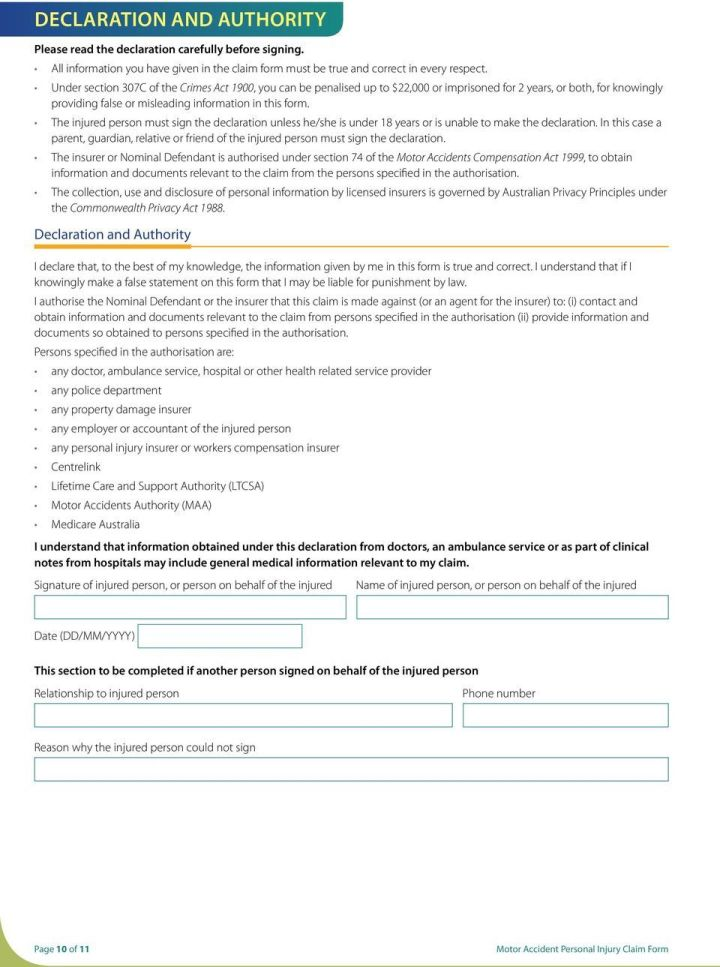Motor Accident Authority Personal Injury Claim Form
