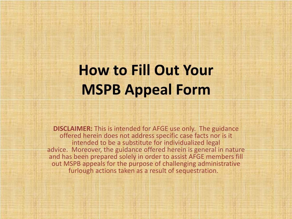 Mspb Appeal Form 185