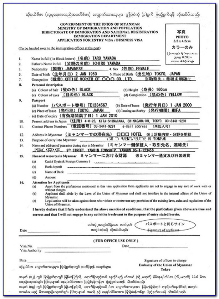 Myanmar Business Visa Form