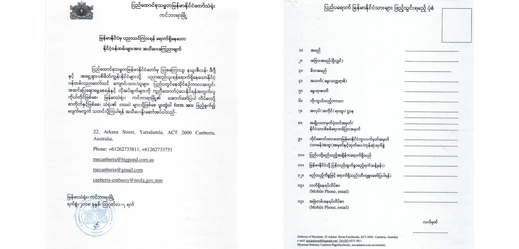 Myanmar Visa Application Form Australia