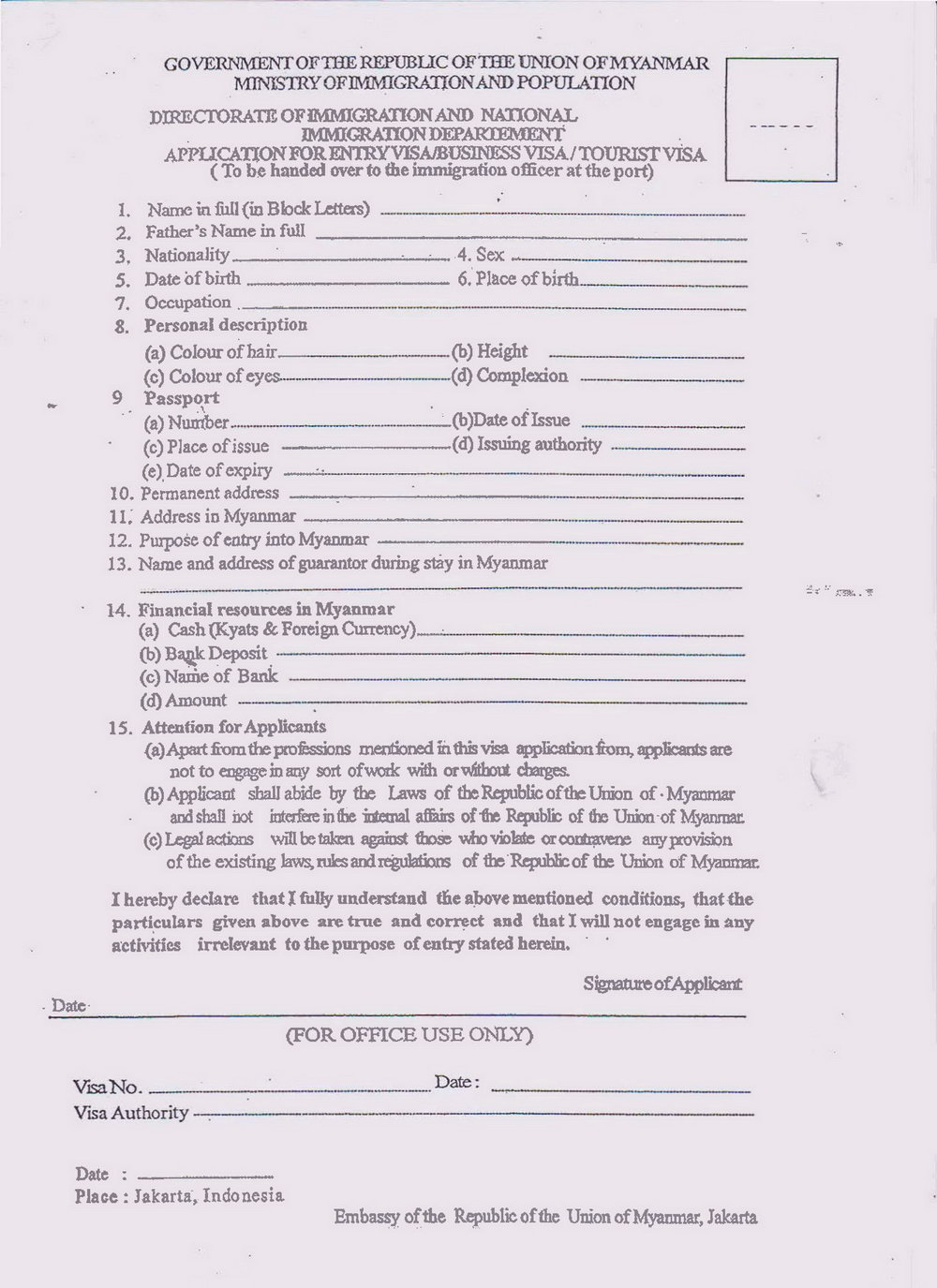 Myanmar Visa Application Form Malaysia