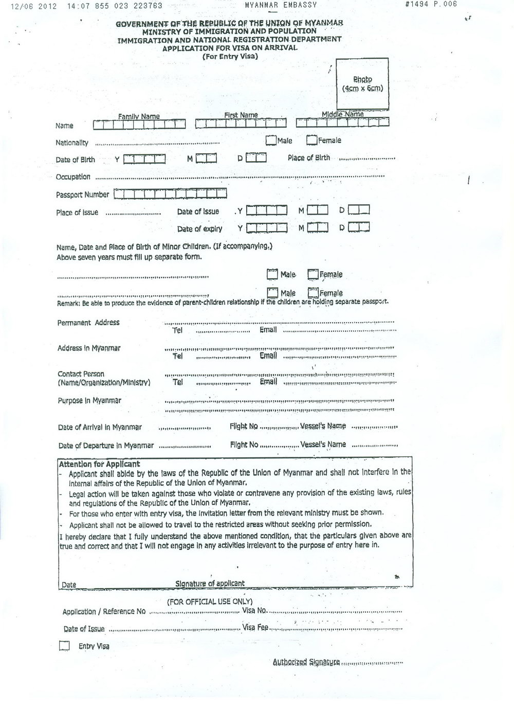 Myanmar Visa Application Form Sri Lanka