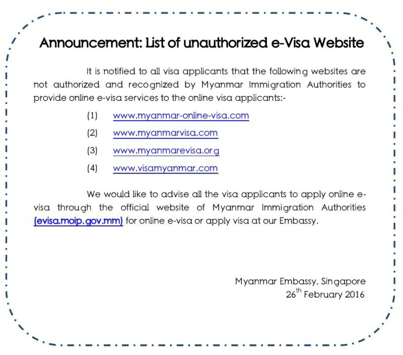 Myanmar Visa Form Singapore