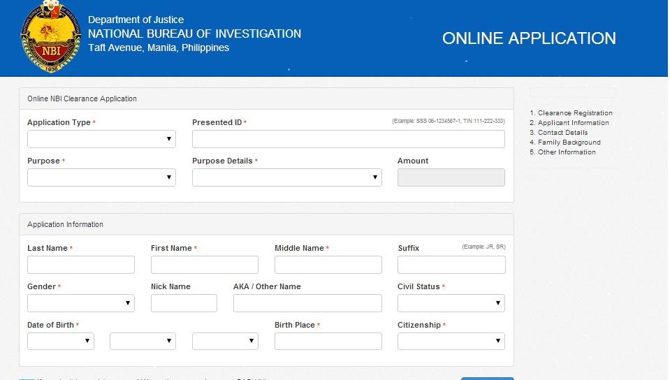 Nbi Online Registration Form 2016
