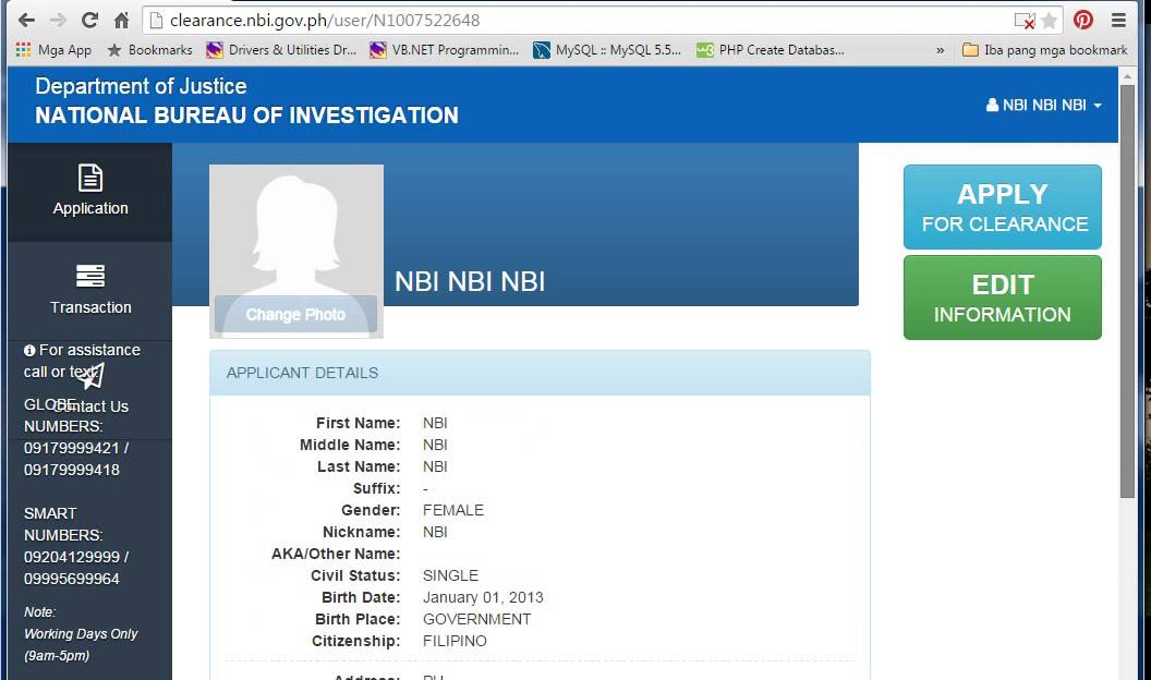 Nbi.com.ph Online Registration Form