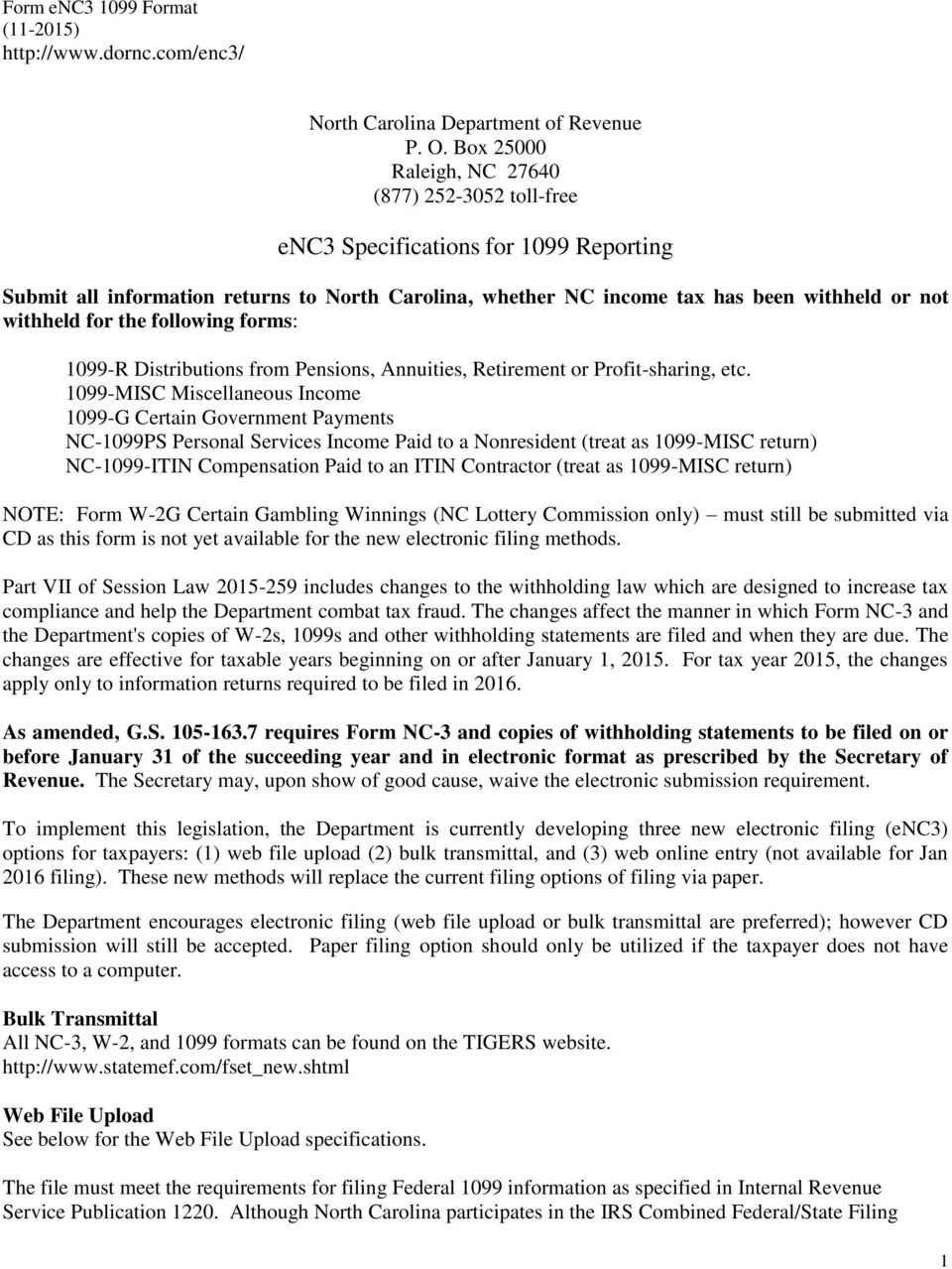 Nc 1099 Misc Form