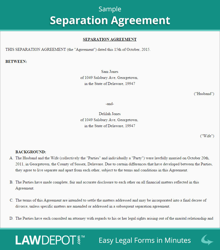 Nc Separation Agreement Best Of Separation Agreement Template Us Lawdepot