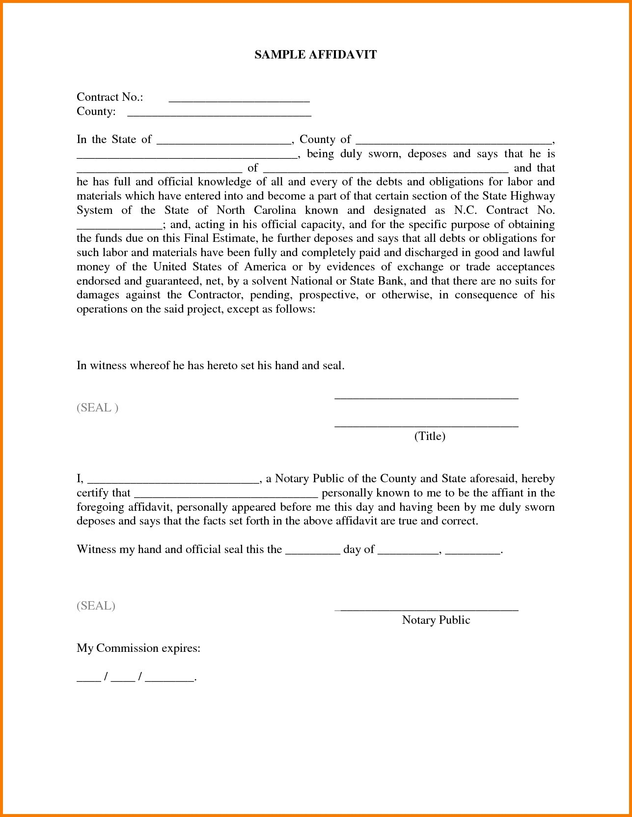 Nc Notary Sample Forms