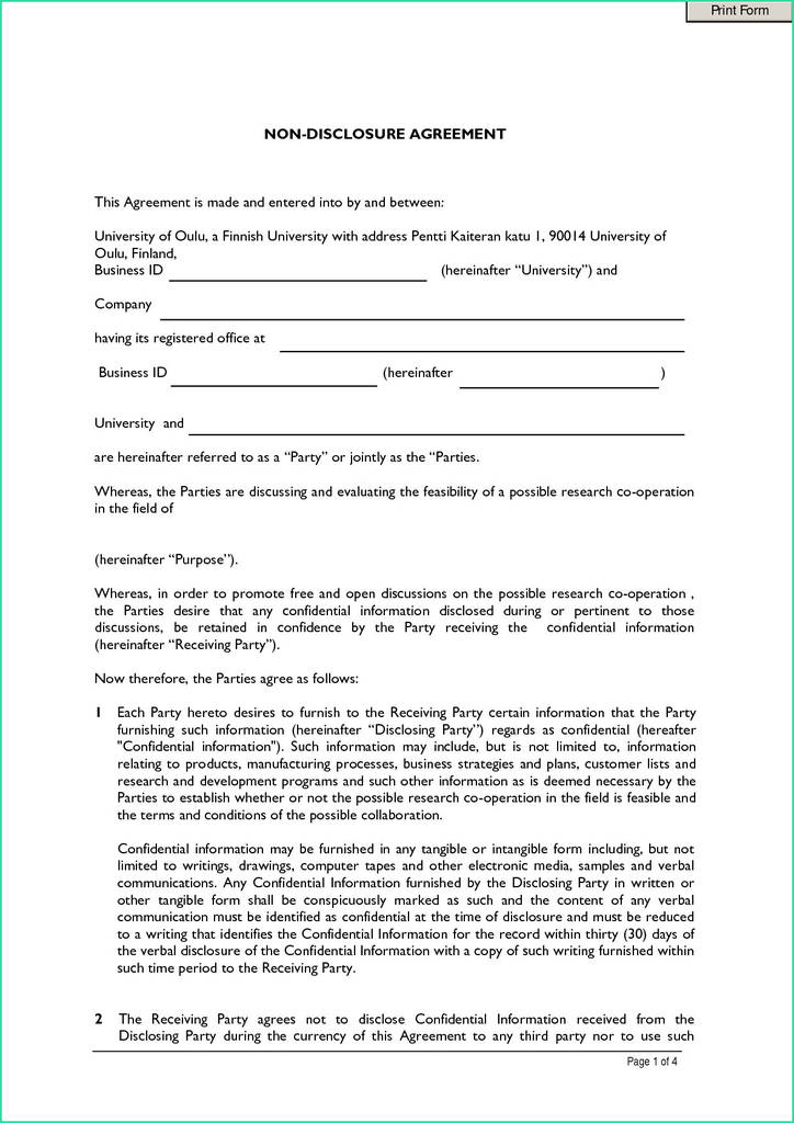 Confidentiality Agreement Form Pdf Fresh Beaufiful Nda Template Word S 19 Word Non Disclosure Agreement