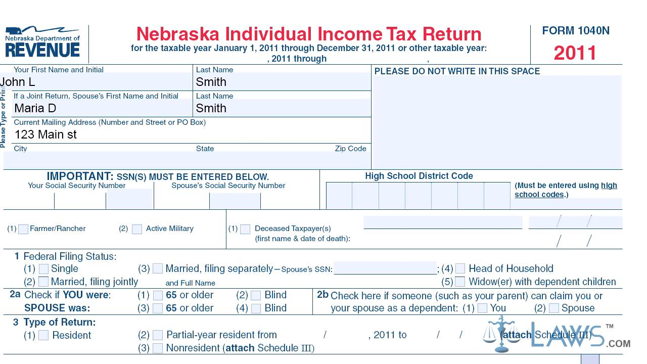 Nebraska Individual Income Tax Return Form 1040n 2017