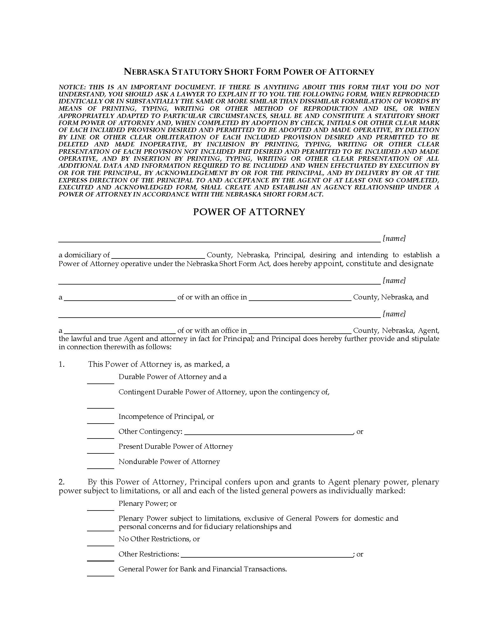 Nebraska Statutory Power Of Attorney Form
