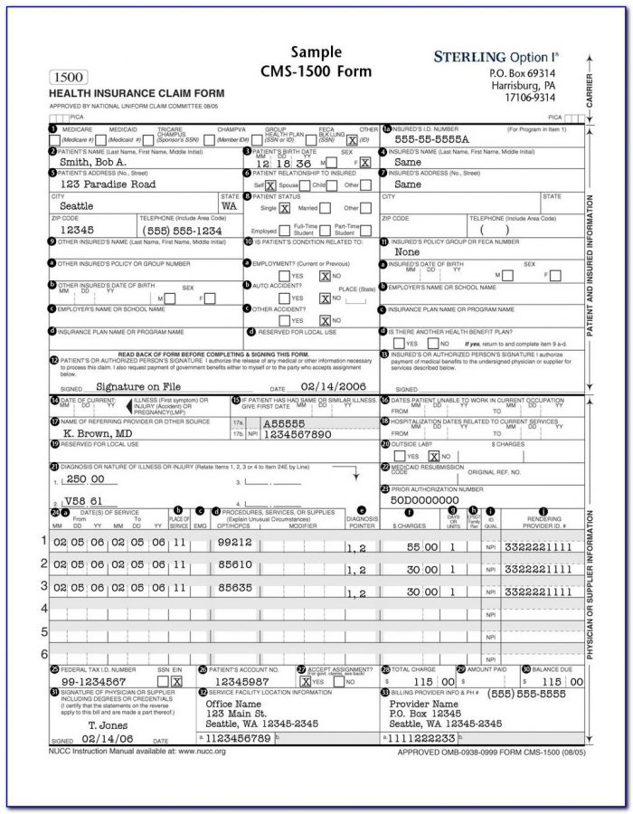 Neehr Perfect Activity Cms 1500 Billing Form