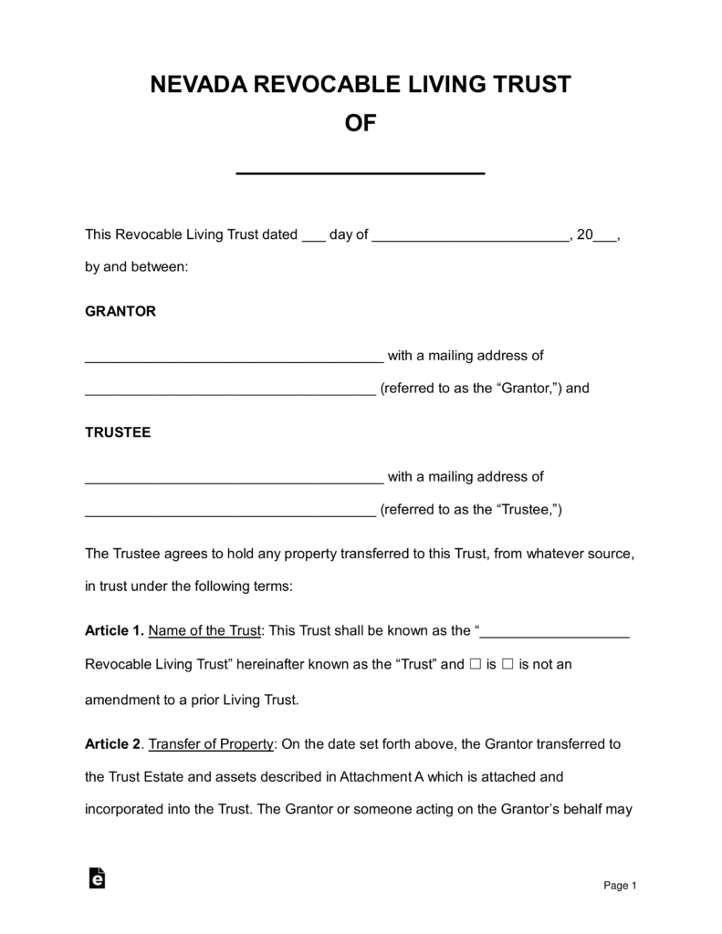 Nevada Trust Transfer Deed Form