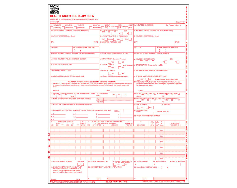 New Hcfa 1500 Claim Form For Icd 10