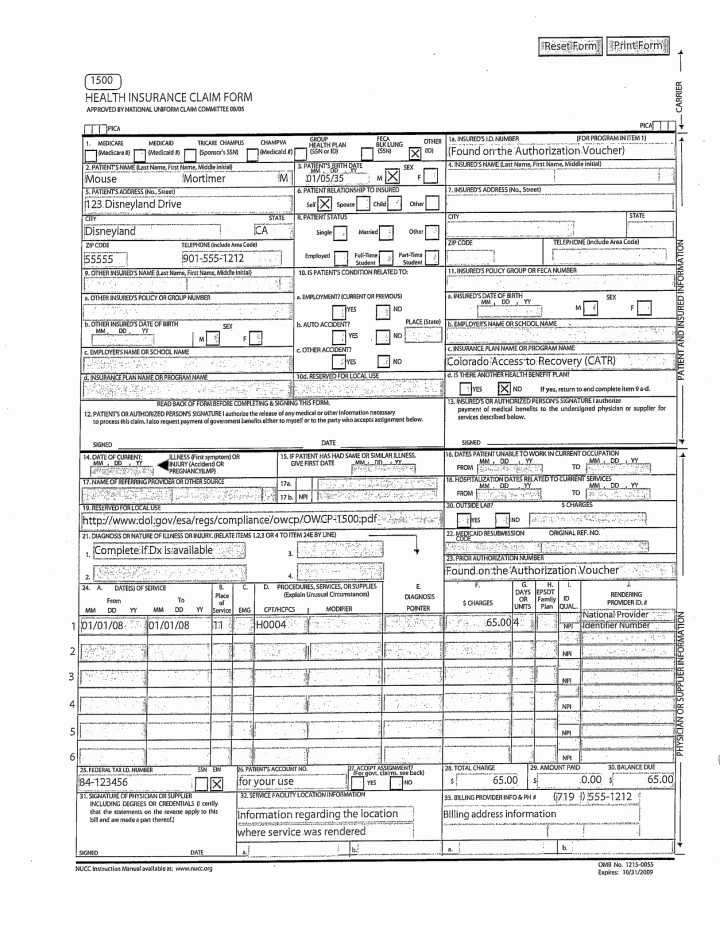 Hcfa 1500 Form Pdf New Fillable Cms 1500 Best Free Claim Form Bomp