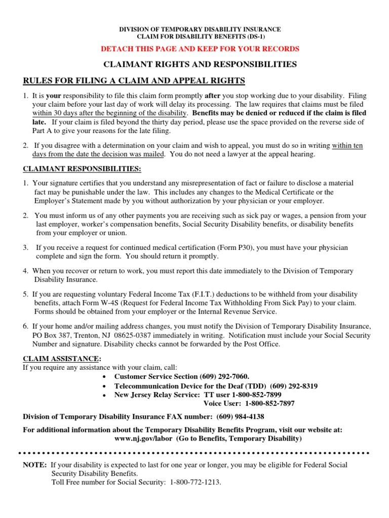New Jersey Long Term Disability Forms