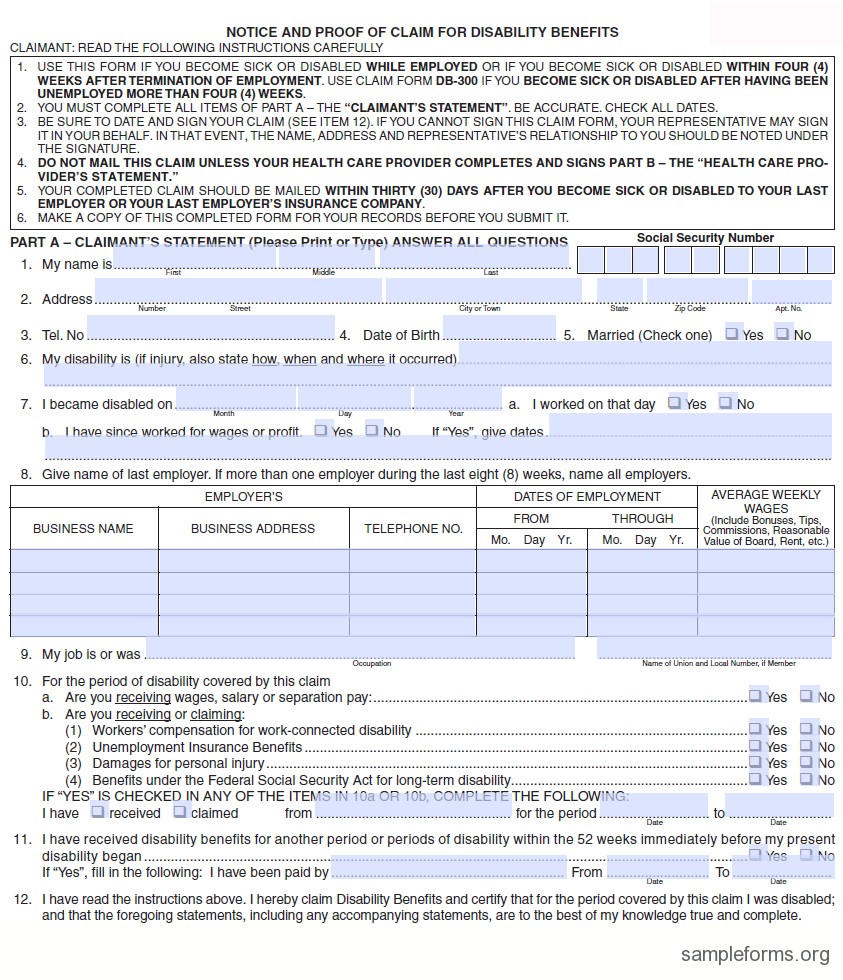 New Jersey State Disability Form Ds 1