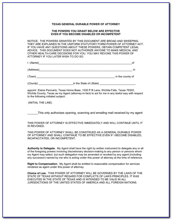 New Texas Statutory Durable Power Of Attorney Form