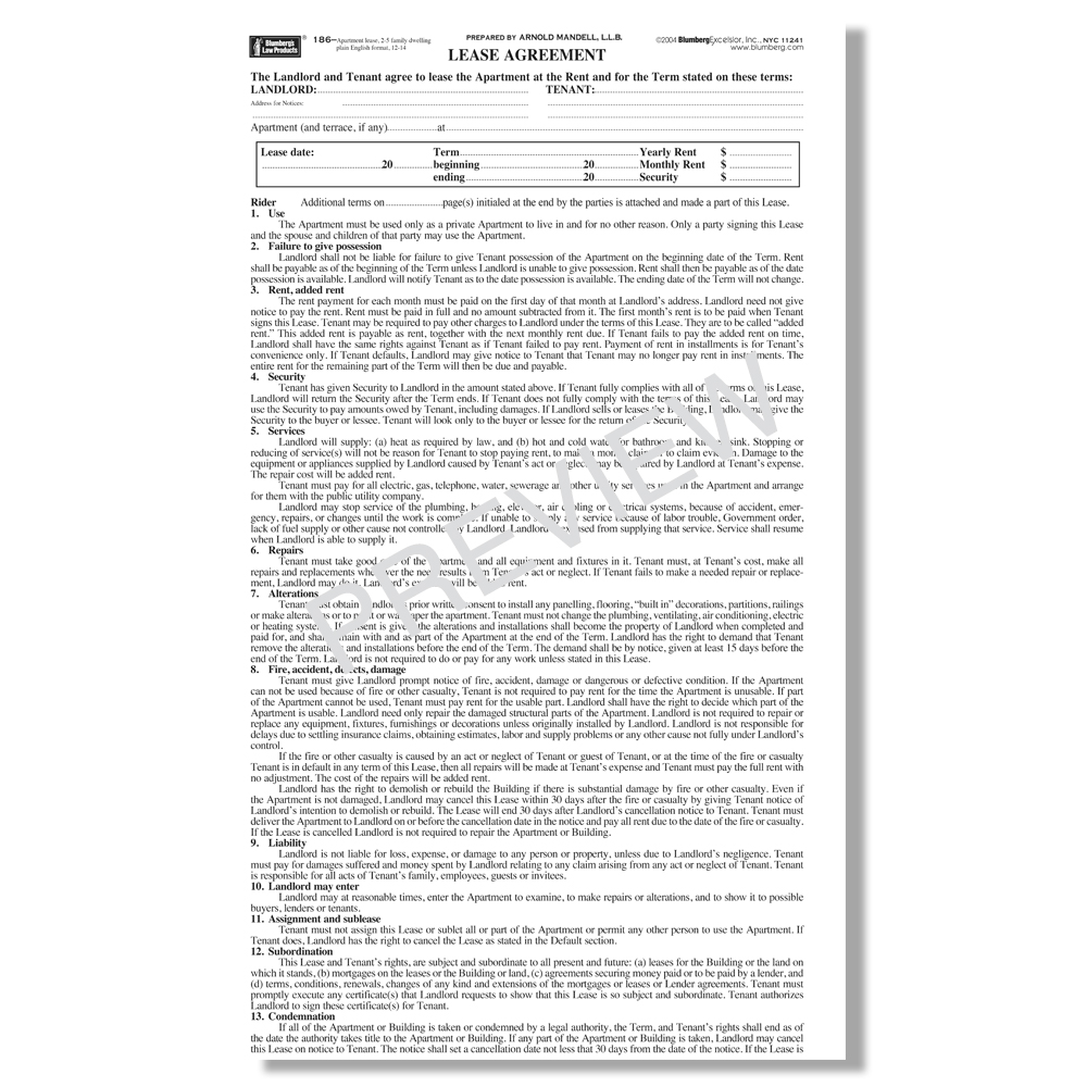 New York Residential Landlord Tenant Rental Lease Forms