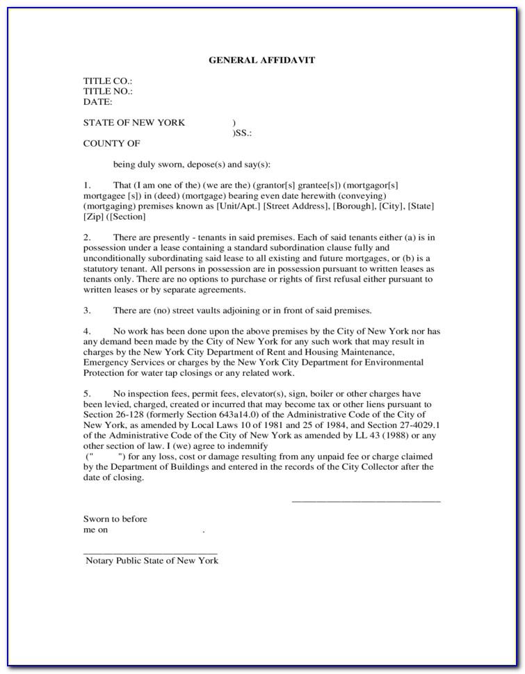 New York State General Affidavit Form