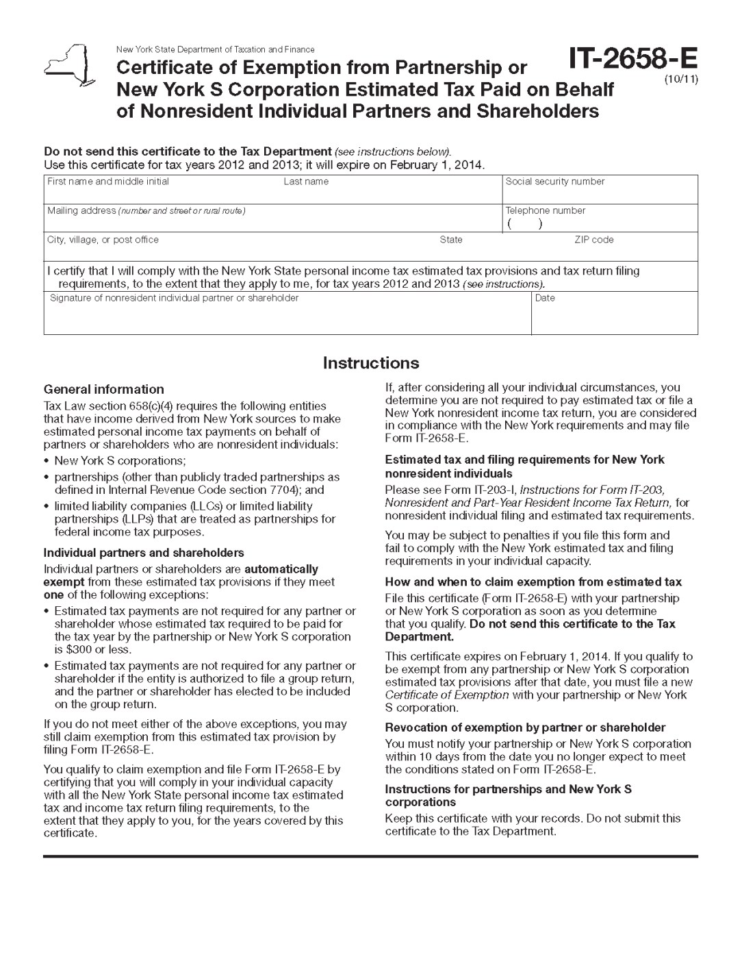New York State Income Tax Extension Form 2014