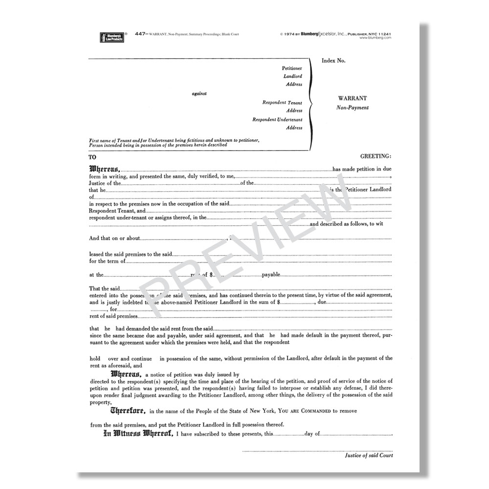 New York State Warrant Of Eviction Form