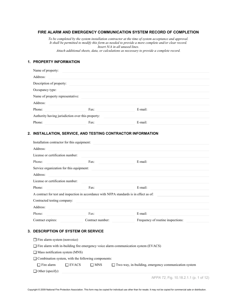 Nfpa 72 Fire Inspection Forms
