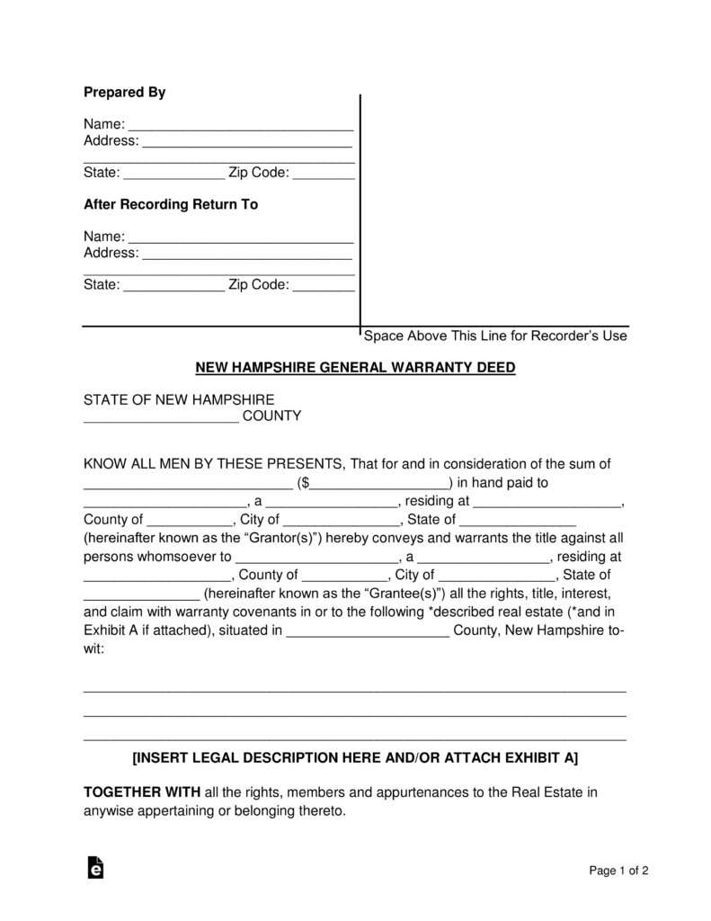 Nh Warranty Deed Forms