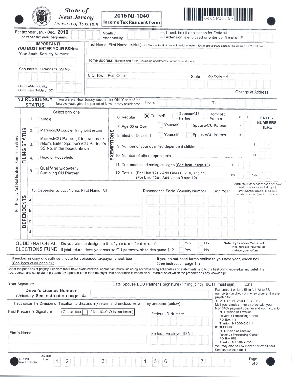 Nj 1040 Tax Form Printable