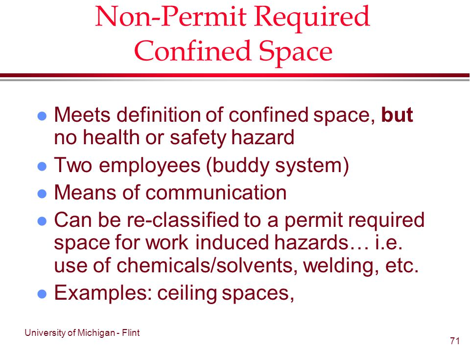 Non Permit Required Confined Space Entry Checklist