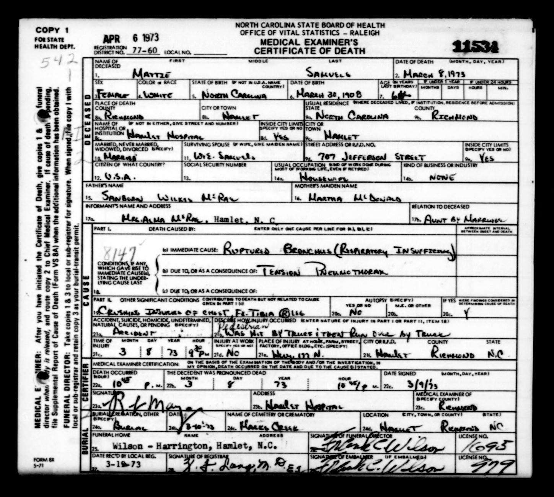 North Carolina Death Certificate Form