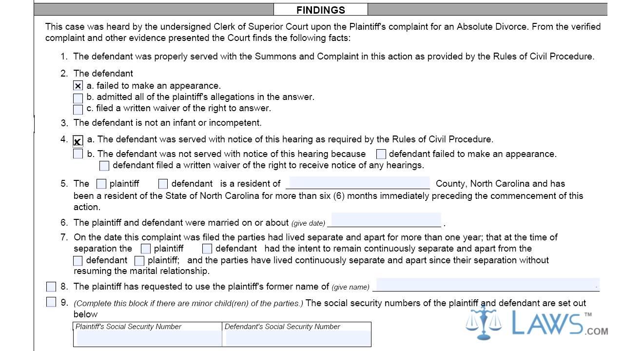 North Carolina No Fault Divorce Forms