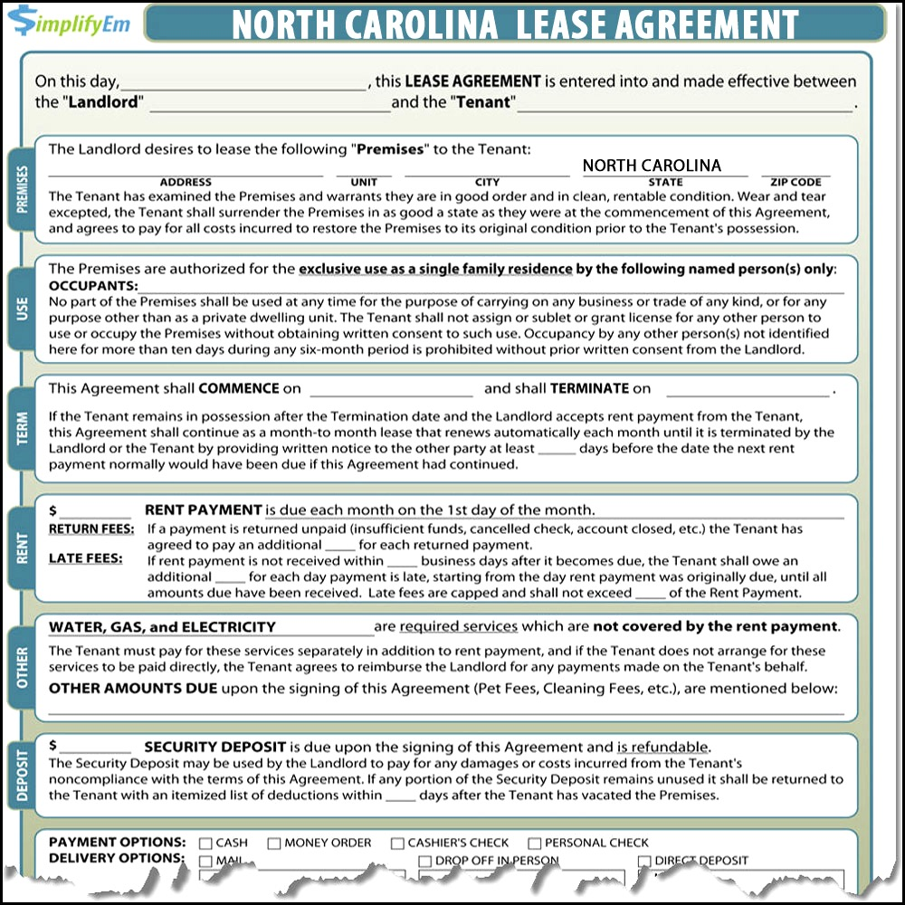 North Carolina Vacation Rental Agreement Form