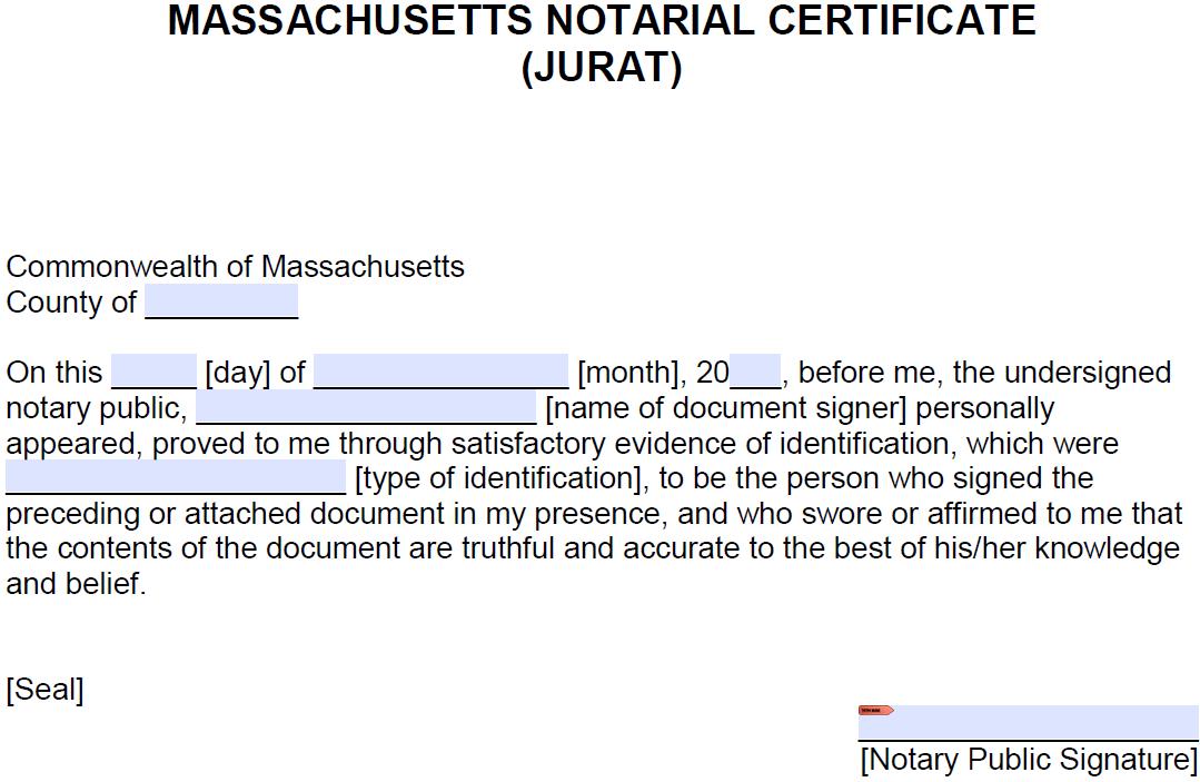 Notary Acknowledgement Form Massachusetts