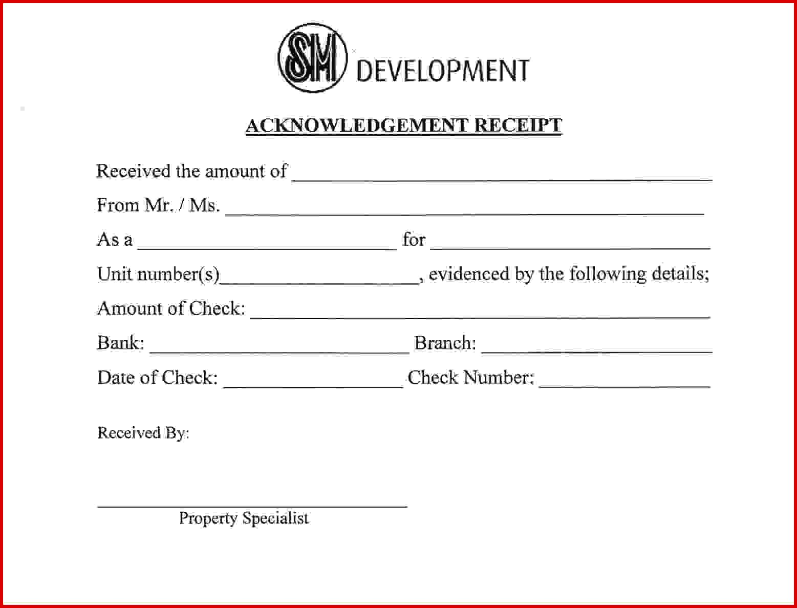 Acknowledge Form Sample Lovely Acknowledgement Form Template Virtren