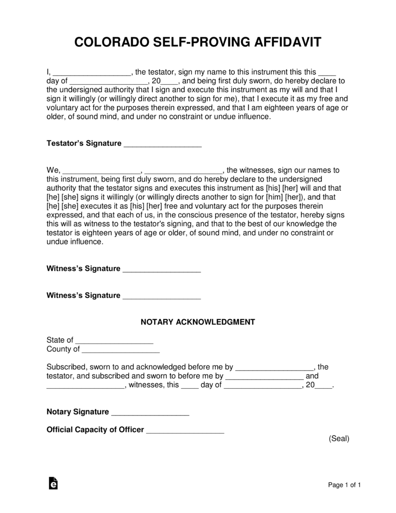 Notary Affidavit Form Colorado