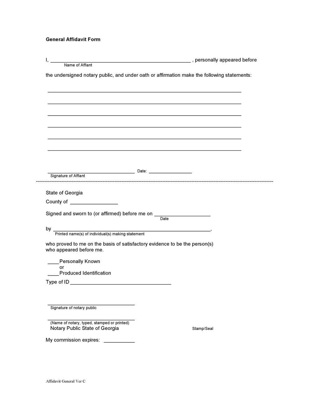 Notary Affidavit Format For Address Proof
