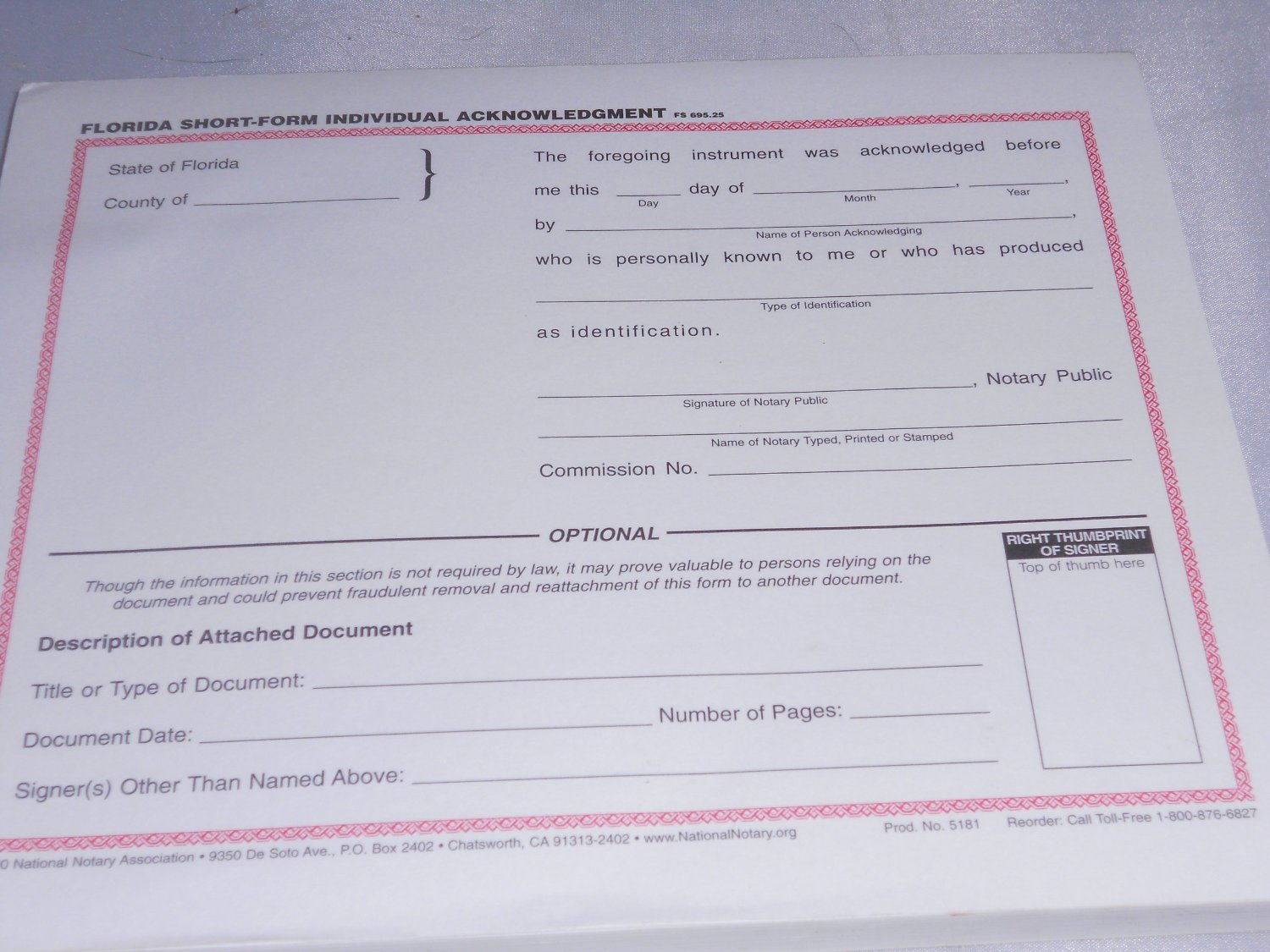 Notary Certificate Acknowledgement Short Form
