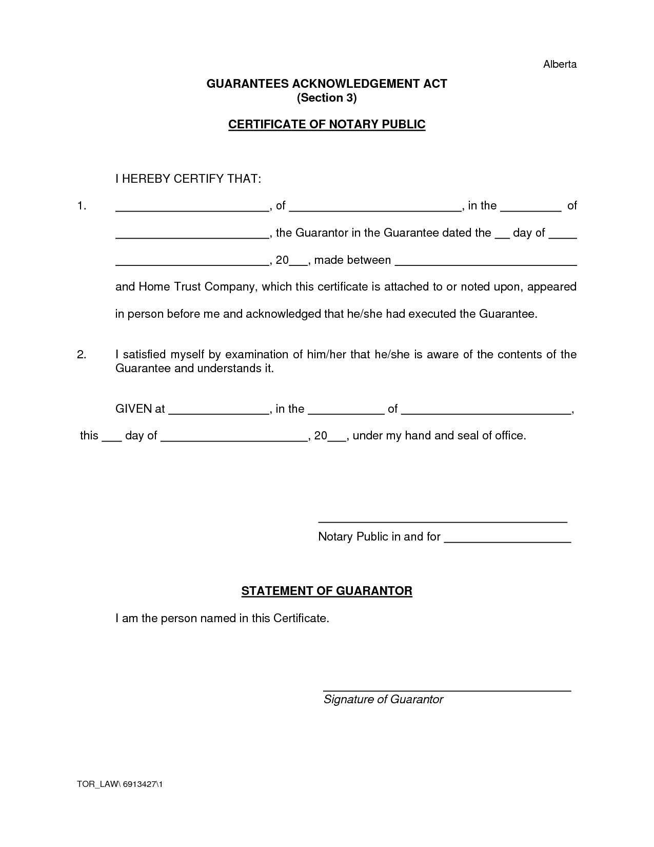 Notary Certificate Of Acknowledgement Form