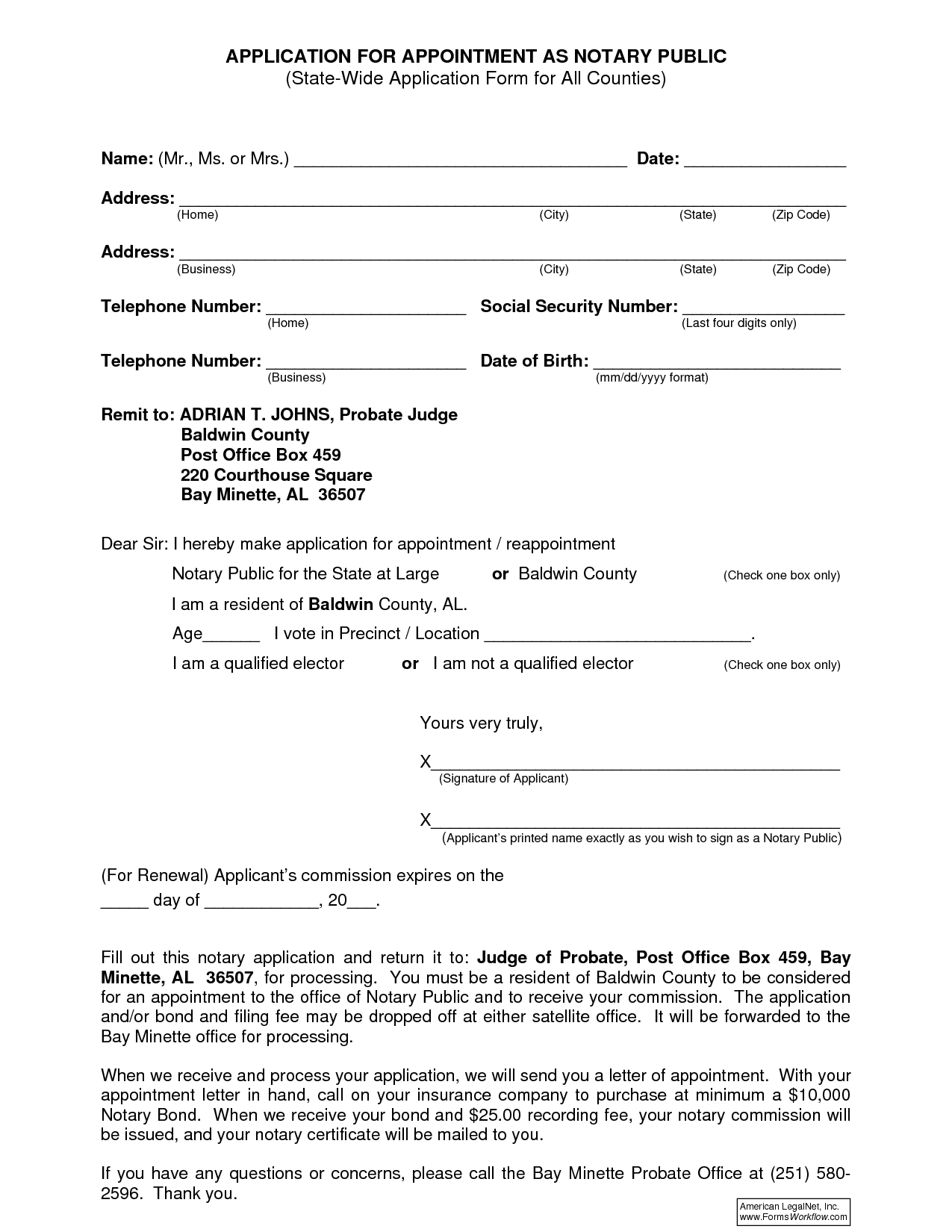 Notary Public Application Form Alabama