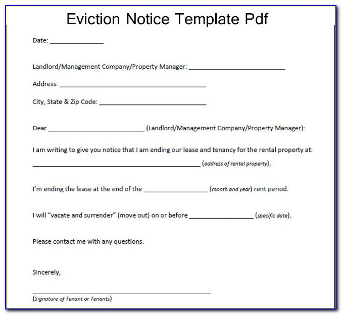 Notice Of Intent To Evict Form