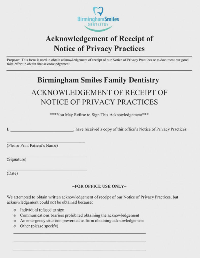 Notice Of Privacy Practices Acknowledgement Form Template