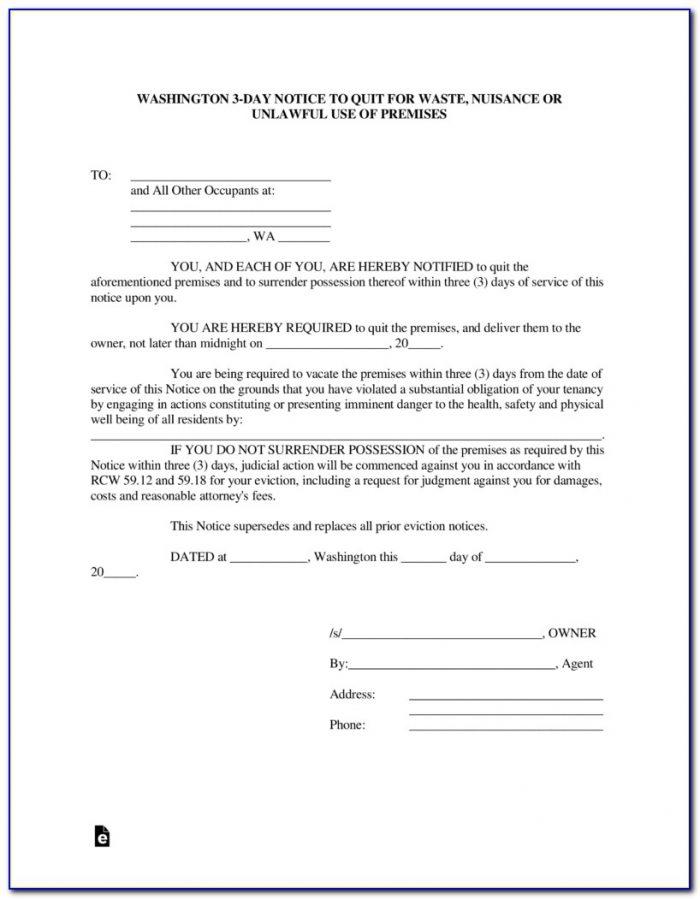 Notice To Terminate Tenancy Form Washington State